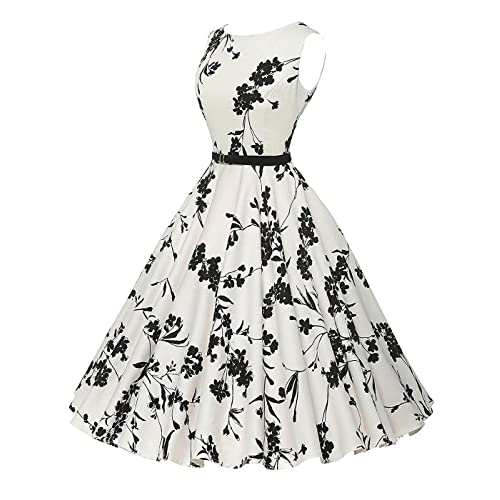 VERNASSA Womens Vintage Dresses, 50s Retro Classy Hepburn Style Cotton Cocktail Club Prom Evening Swing