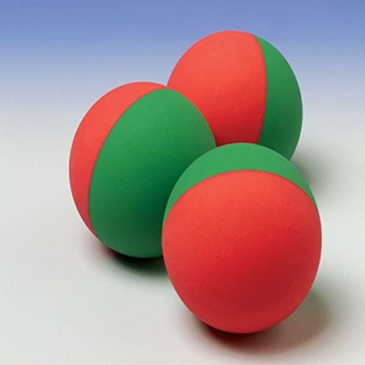 Dozen red and green rubber bouncing balls for Christmas