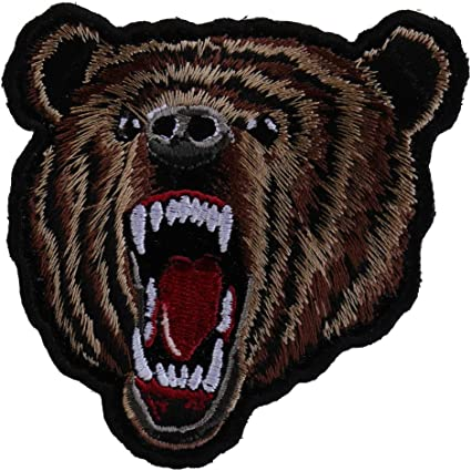 """2 Black Bear California Animal Forest Embroidered Iron On Sew//Patch 3/""""L x 2.5/""""W"""