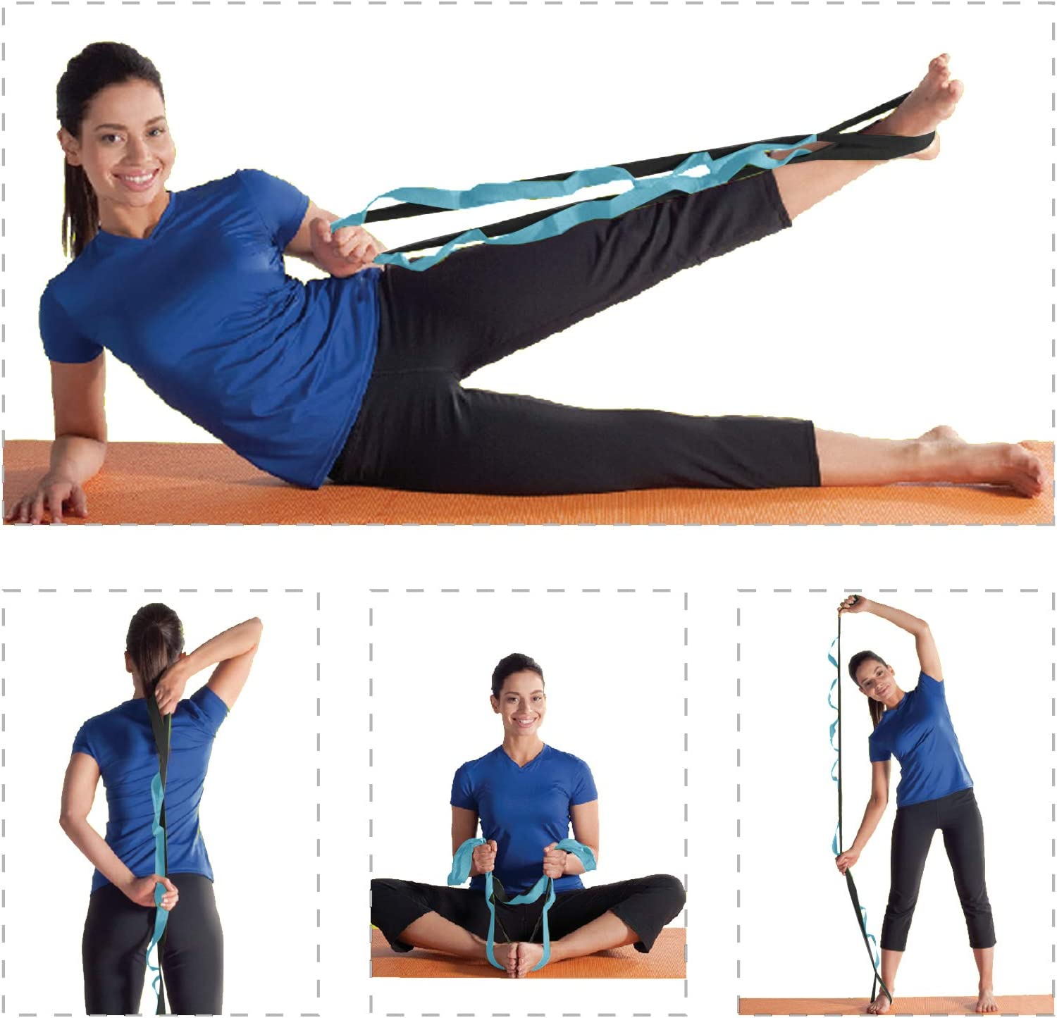 Pilates Gymnastics and Athletic Trainers with Carry Bag BOB AND BRAD Stretch Strap Physical Therapy Non-Elastic Stretch Strap for Stretching 12 Loop Yoga Stretch Strap Dance