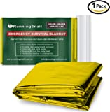 RunningSnail Emergency Mylar Space Blanket for Survival Kit, Hiking, Camping, Go-bag, Marathons, First Aid Kit, Car and Home