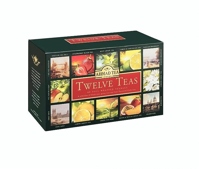 Ahmad Tea Twelve Teas Variety Gift Box, 60 Foil Enveloped Teabags