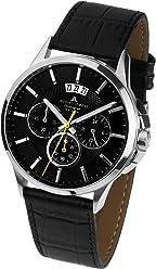 Jacques Lemans Sydney 1-1542A Mens Chronograph Black Leather Strap Watch
