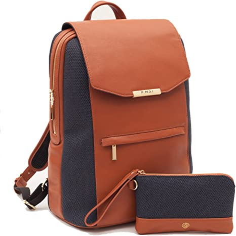 sneakers quality products pretty nice P.MAI 15-Inch Executive Leather Laptop Backpack for Women with Wristlet in  Cognac I Notebook Computer Backpack Ideal for Business, Travel, Work