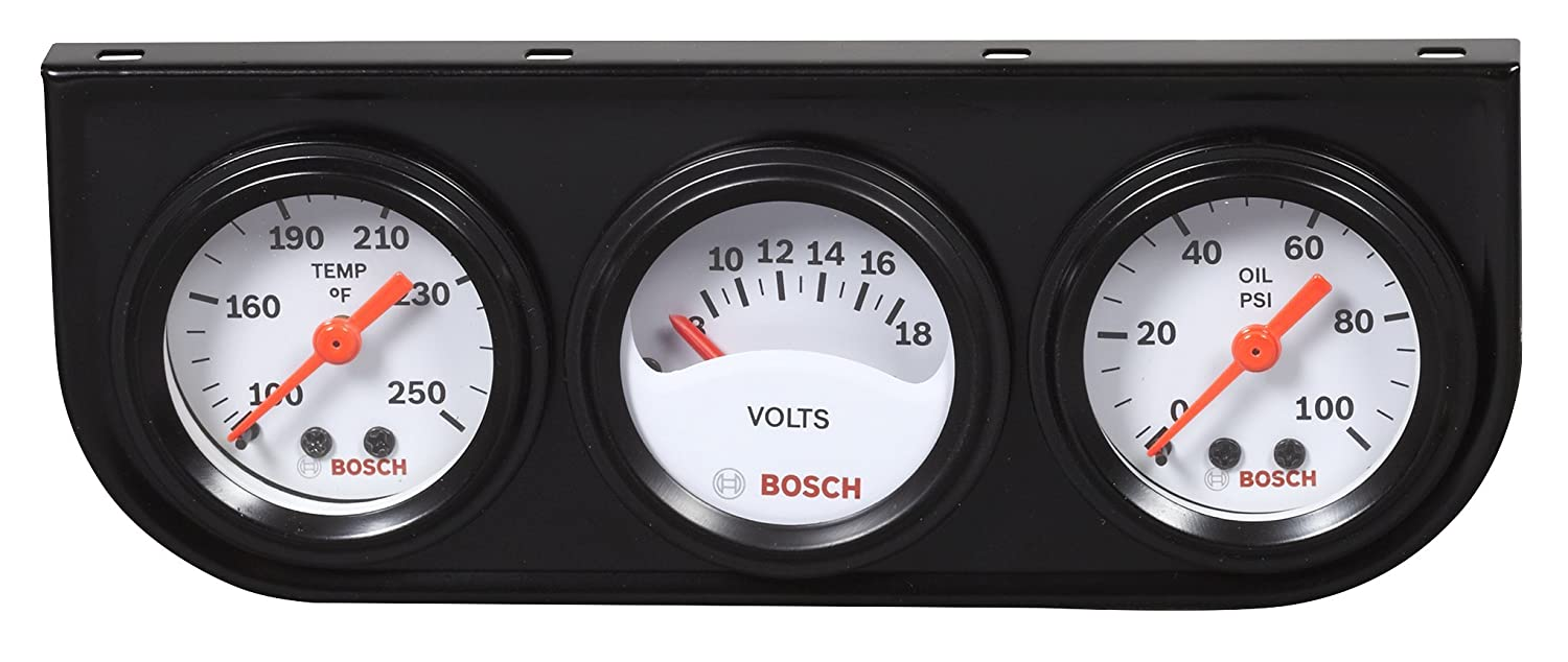 Bosch SP0F000017 Style Line 1-1/2' Mini Triple Gauge Kit (White Dial Face, Black Bezel)