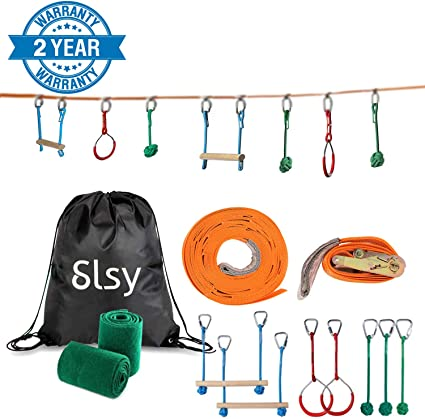 Slsy Ninja line Monkey Bar Kit 40 Foot, Kids Slackline Hanging Obstacle Course Set Warrior Training Equipment for Backyard Outdoor Playground, with ...