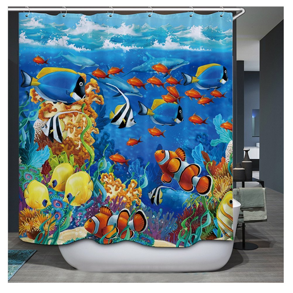 Shower Curtain | Waterproof | Anti-Mould | Polyester Fabric Shower Curtain for Bathroom Decoration Digital Printing (180 x 180 cm) Innova Tion