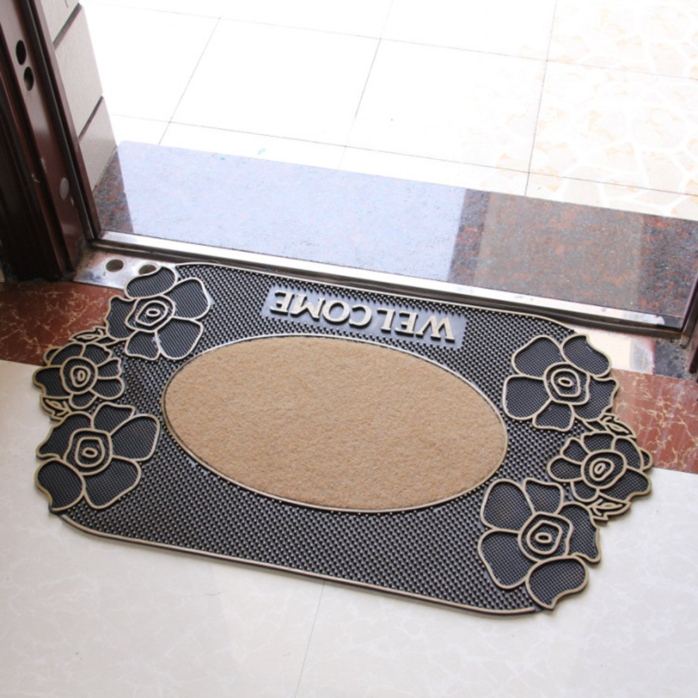 WINOMO WELCOME Entrance Entry Rug No Skid Indoor Rubber Floor Mat Carpet for Home Office (Rose Flower)