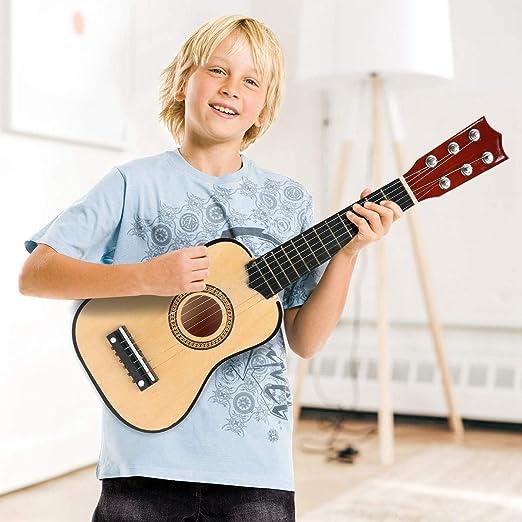 KOBWA Guitarra de Juguete para niños, Color Negro, 53,34 cm, 6 ...