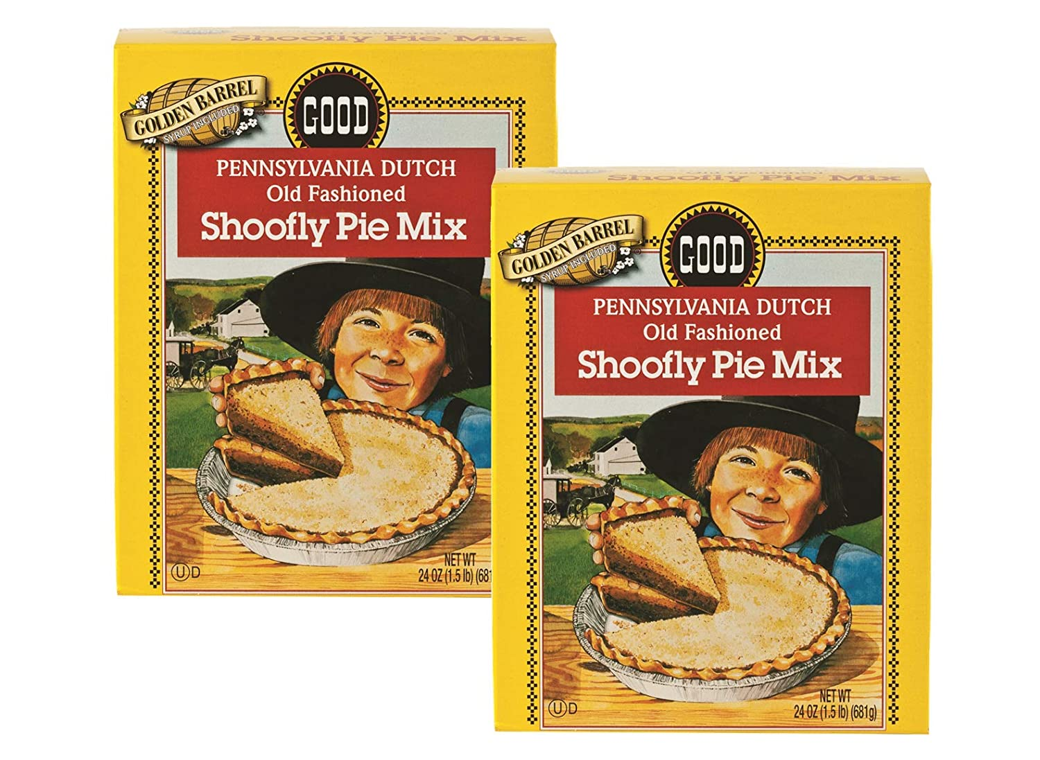 Golden Barrel Pennsylvania Dutch Old Fashioned Shoofly Pie Mix With Syrup- Two 24 oz. Boxes