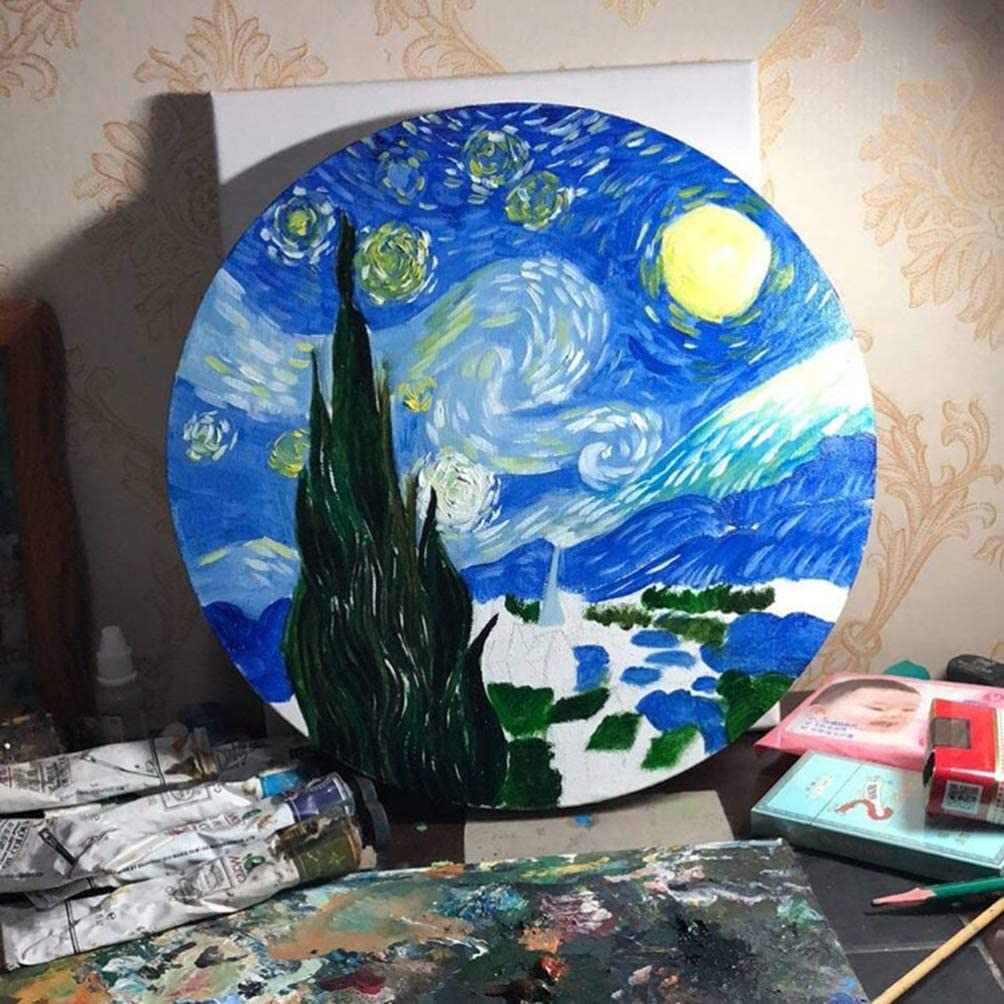 HEALLILY Round Professional Stretched Canvas Wooden Painting Frame Stretched Canvas for Drawing Painting 2pcs 20cm
