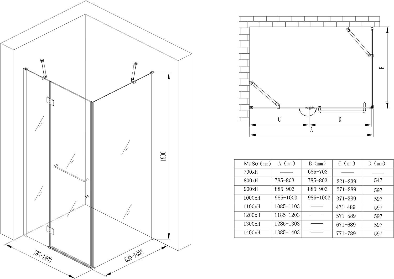Sogood Cabina de ducha de esquina Rav04S 70x120x190cm, mampara de ...