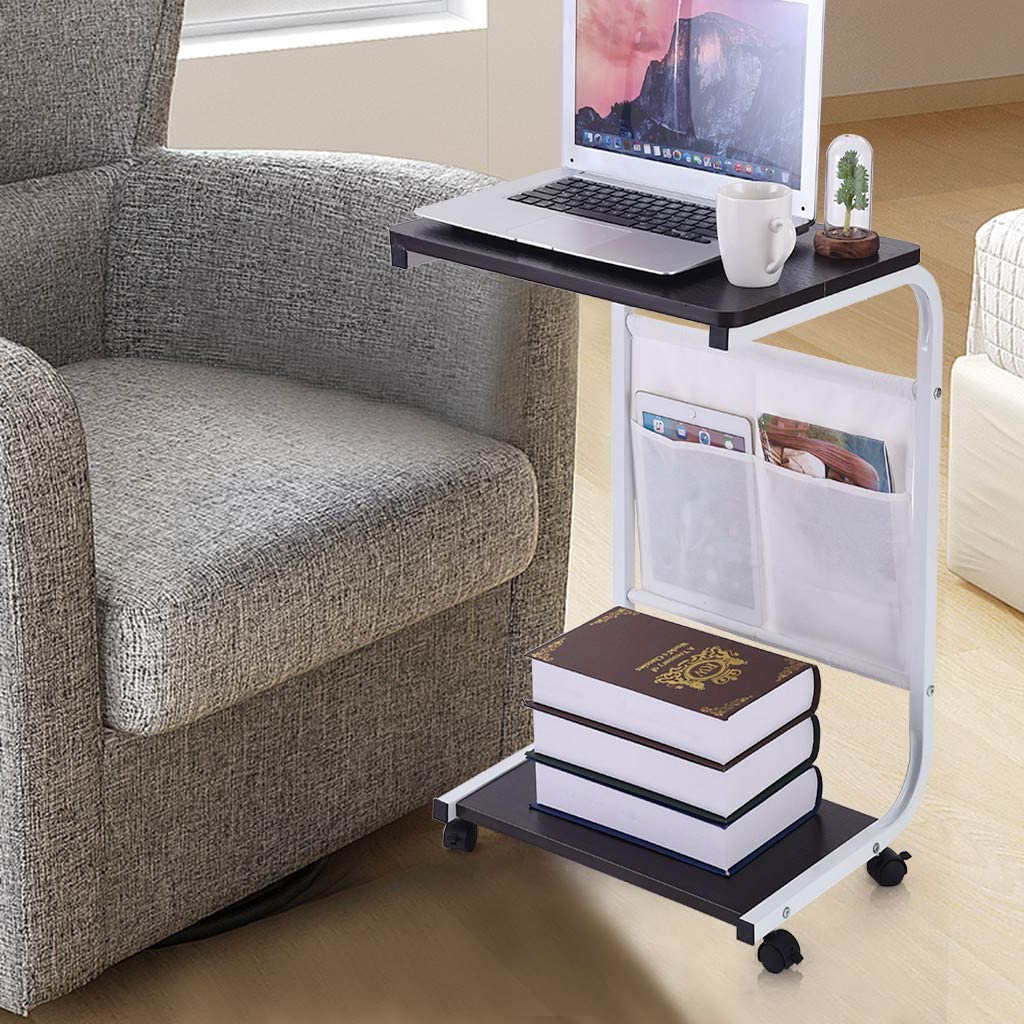 Writing Computer Desk Bedside Table Lifting Desktop C Style Study Desk Laptop Table Room Home Office Notebook Desk with Wheels Couch Table