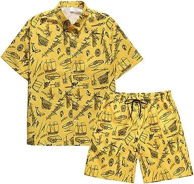 AIEOE Camisa Hawaiana Hombres Manga Corta Funky Camisa Casual y Pantalones Cortos Conjunto Estampado con Botones Flor Fiesta en la Playa Verano para Vacaciones 8 Colores: Amazon.es: Ropa y accesorios
