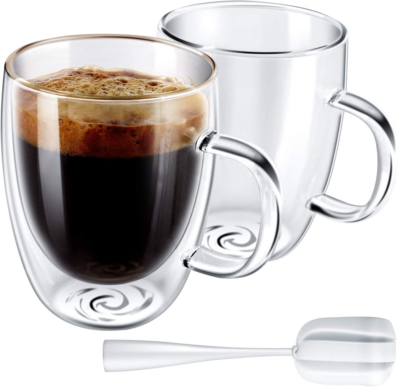 Yuncang Glass Coffee Mugs 2 Pack,Double Wall Insulated Glass Mugs Cups with Handle,Cappuccino Cups with Cleaning Brush,12 Ounces 350ml,Perfect for Americano,Latte,Beverage,Cappuccinos,Espresso Cups