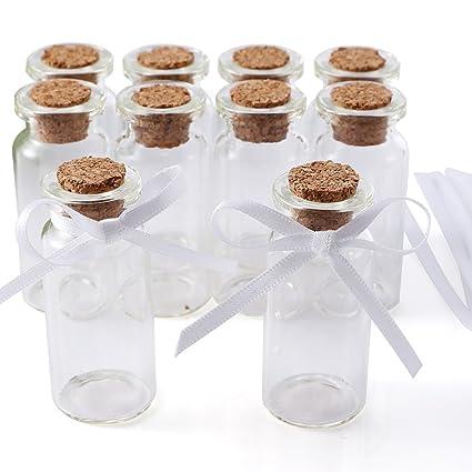 CLE DE TOUS - 10pcs mini Botellas de vidrio de Regalo 5x2,1cm Cajas para