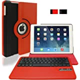 KHOMO Red & Black 360 Degree Rotating Case with DETACHABLE Bluetooth Keyboard for Apple iPad Air