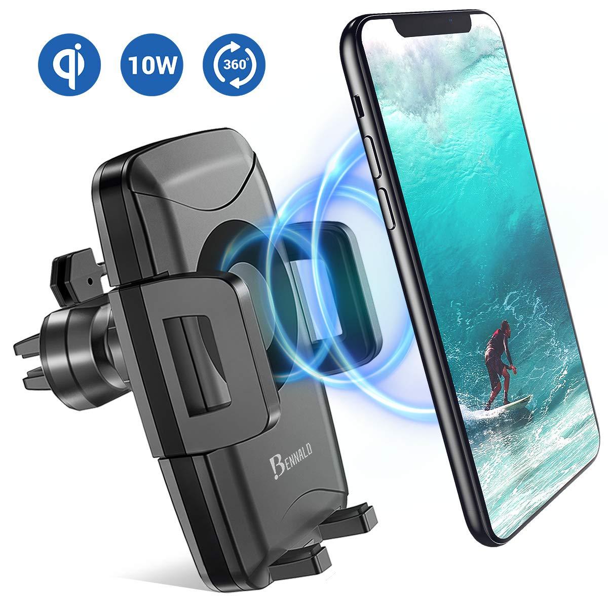 BENNALD Handyhalter fü rs Auto, Wireless Charger Auto Handyhalterung Auto Lü ftung Induktive Qi Ladegerä t 10W Charger fü r iPhone XS/XS Max/Xr/X/8/8Plus, Samsung Galaxy Note 5/8/9/S9/S9+/S8/S8+ DL-AUTO-CHARGER-AVT