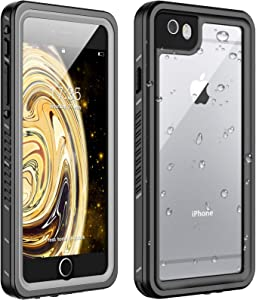 Huakay iPhone 6 Waterproof Case iPhone 6s Waterproof Case IP68 Shockproof Dirtproof 360° Full Body Protection Waterproof for iPhone 6/6s (Black/Clear)(4.7inch)