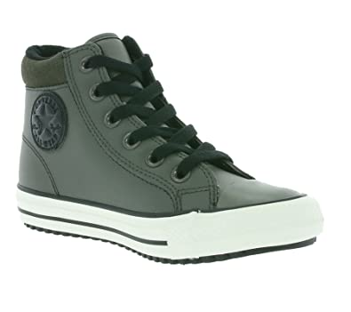 38d83e9d2acadf Converse All Star Chuck Taylor High Street Kids Leatherette Trainers Grey  654310C
