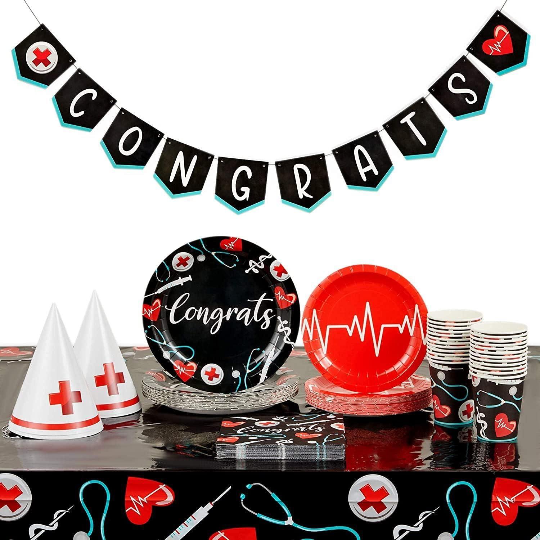Nurse Graduation Party Supplies, Dinnerware Set and Decorations (Serves 24)