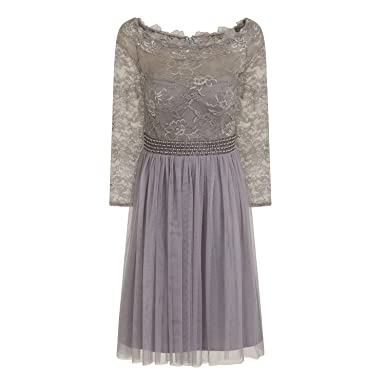 Little Mistress Womens/Ladies Lace Mesh Prom Dress (6) (Gray)