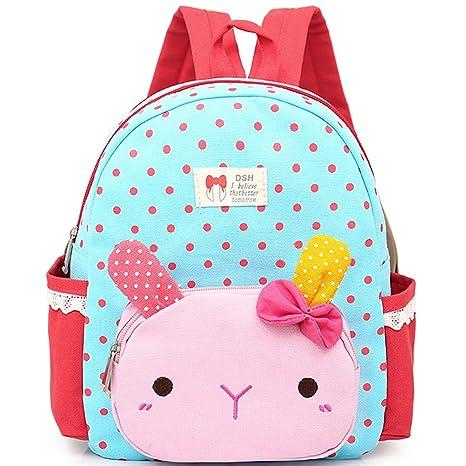 Donalworld niños Cute Kawaii conejo algodón mochila infantil mochila escolar libro bolsa Azul Sbu