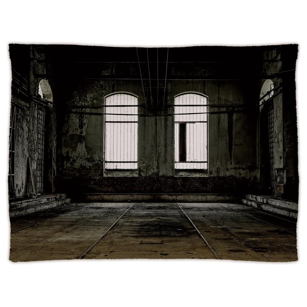 Super Soft Throw Blanket Custom Design Cozy Fleece Blanket,Industrial Decor,Vintage Grunge Floor Walls and Windows Messy Aged Wrecked Workshop Decorative,White Dark Brown,Perfect for Couch Sofa or Bed