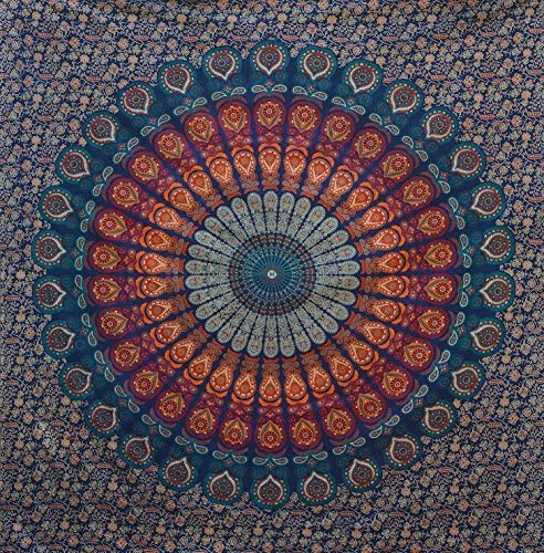 Bless International Indian Hippie Bohemian Psychedelic Peacock Mandala Wall Hanging Bedding Tapestry Golden Blue, King 88x104Inches 225x265Cms