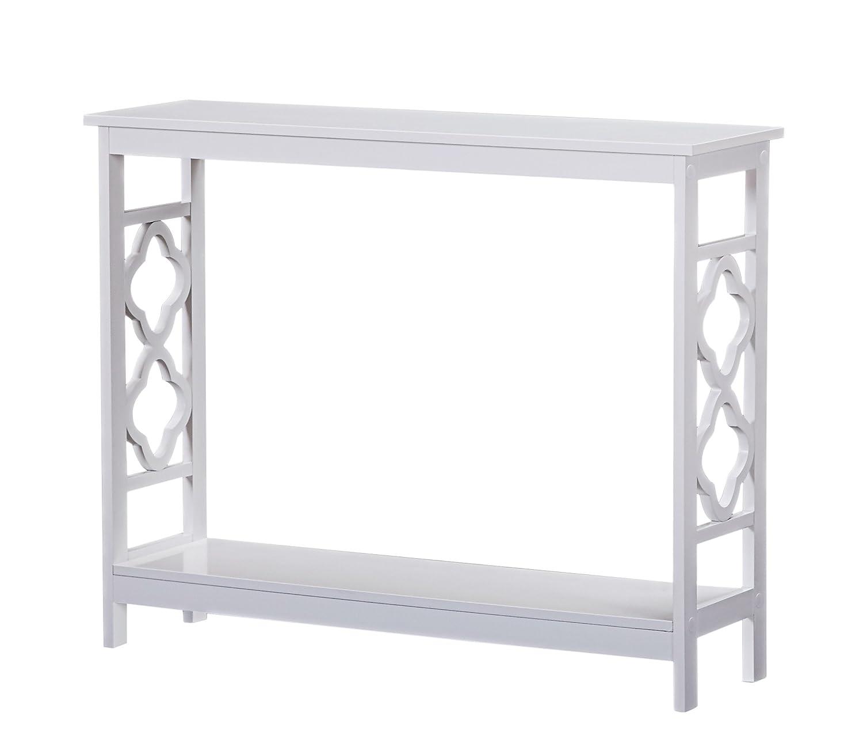 White Finish 2-Tier Quatrefoil Design Occasional Console Sofa Table Bookshelf