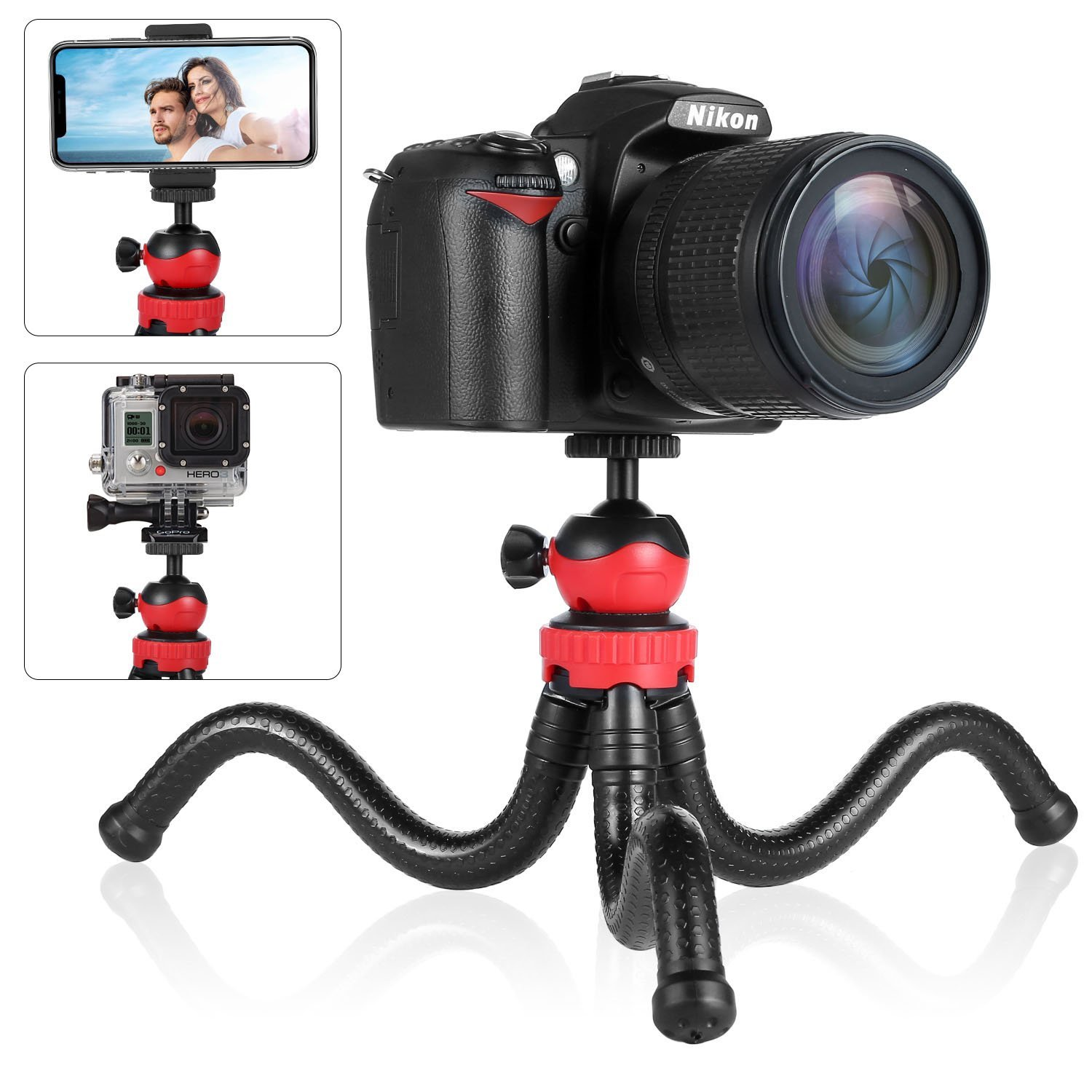 Tripod for Phone, Sellemer Flexible Tripod Remote iPhone X 7 8 6 Plus, Samsung S9 S8, Camera for GoPro Akaso Canon Nikon DSLR, Cellphone Tripod Stand