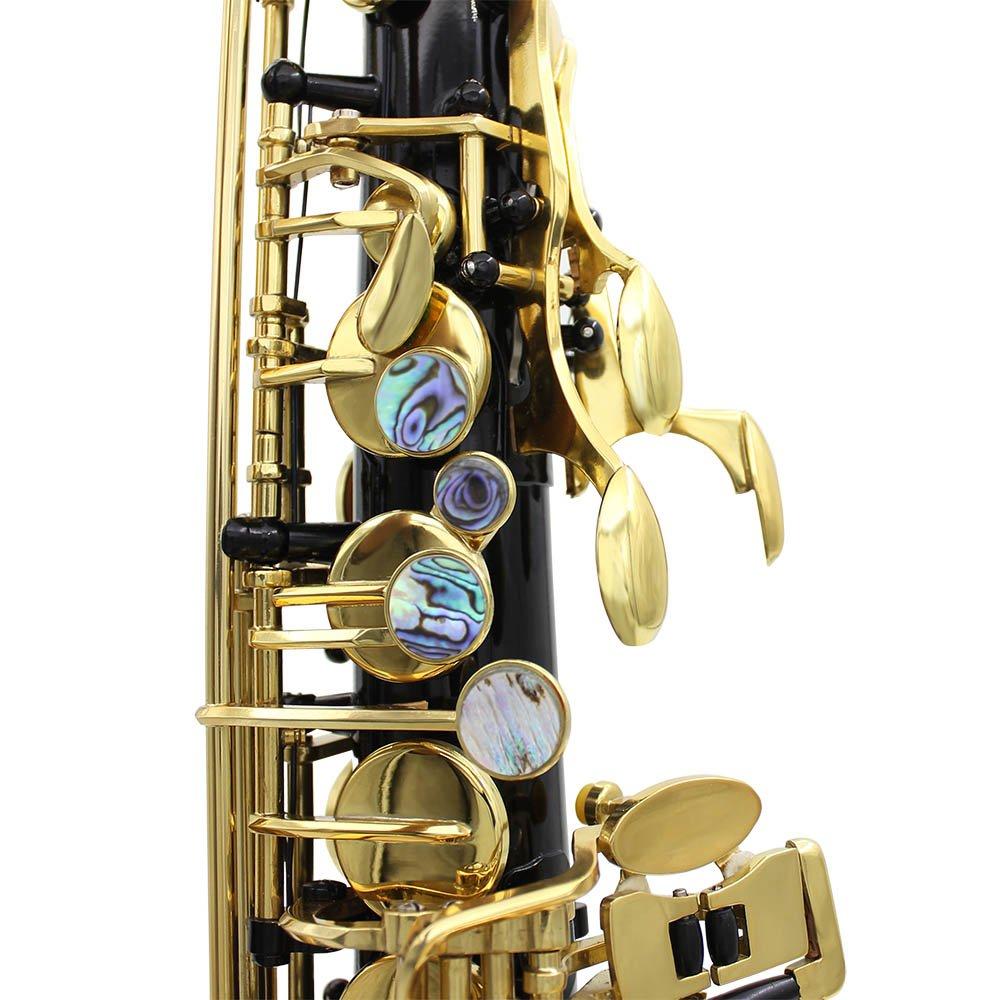 ammoon LADE Brass Grav/é Eb E-Flat Alto Saxophone Sax Abalone Shell Boutons Instrument Vent avec Gants Case Chiffon de Nettoyage Graisse Belt Brush