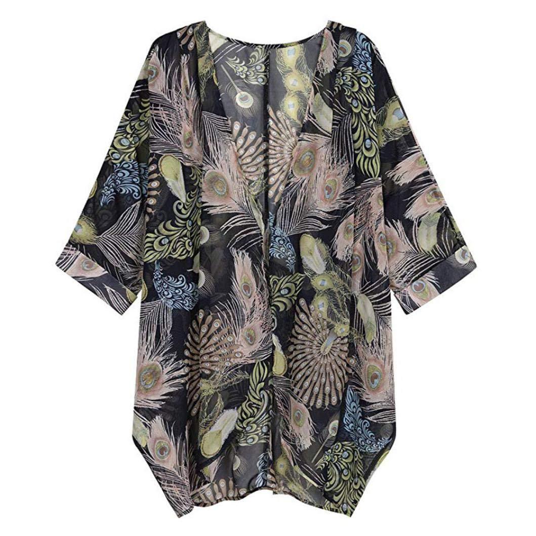 ABCone-Donna Pullover ❀❀ Vendita di liquidazione Felpa Camicia Kimono a fiori con stampa floreale T-Shirt Maniche Lunghe Elegante Autunno Camicette Camicie Casual Tops