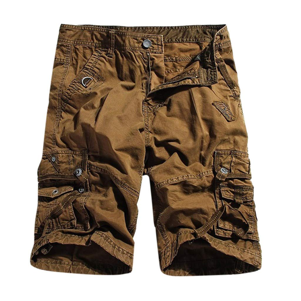 Men Shorts Cotton Twill Army Cargo Multi-Pocket Shorts Outdoor Wear Lightweight (L, Brown)
