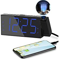 Projection Digital Alarm Clock for Bedrooms,Loud Alarm Clock for Heavy Sleeper,Digital Clock with Projection on Ceiling…