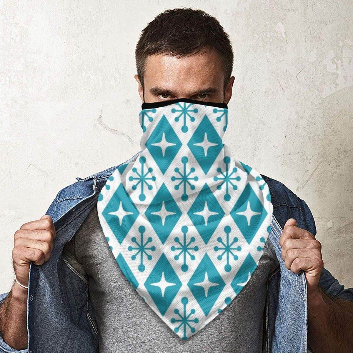 Wind-Resistant Face Mask/& Neck Gaiter,Balaclava Ski Masks,Breathable Tactical Hood,Windproof Face Warmer for Running,Motorcycling,Hiking-Mid Century Modern Atomic Triangle Pattern