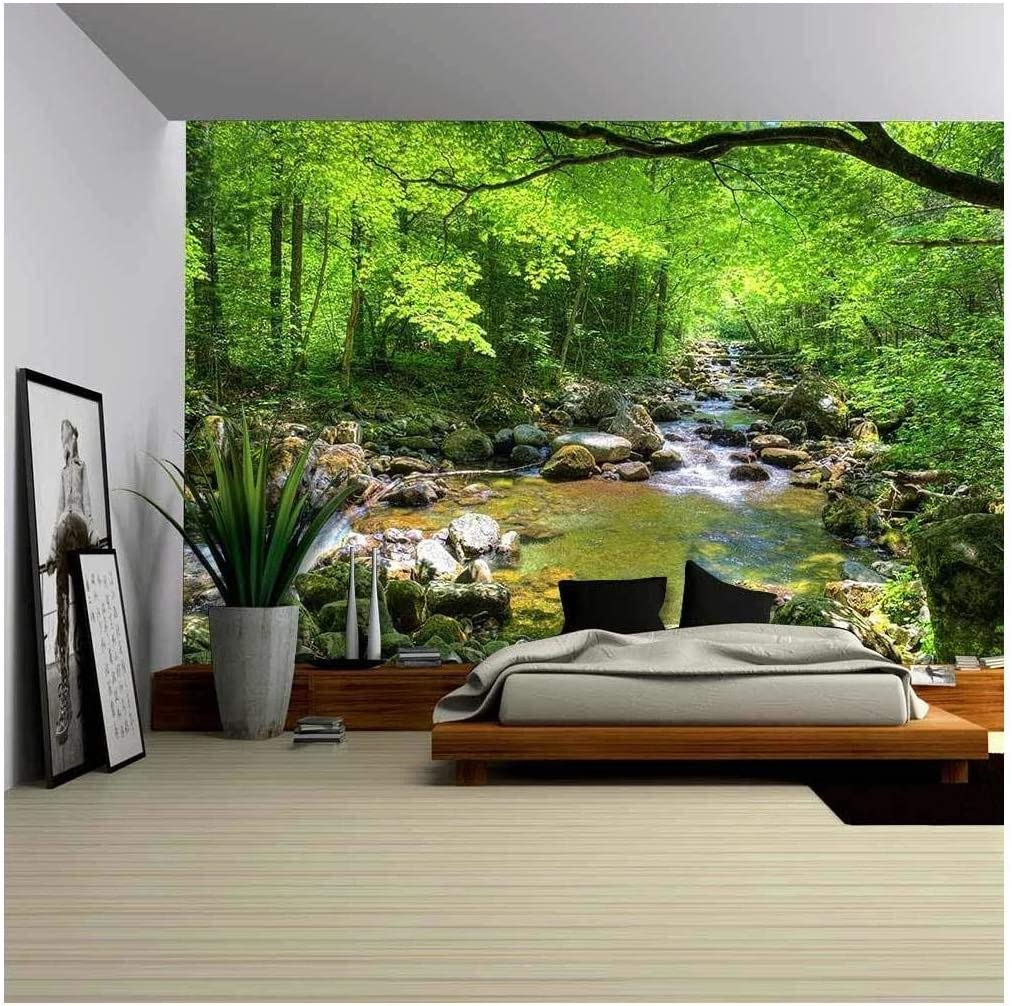 wall26 - Fall Forest Stream Smolny in Russian Primorye Reserve - Removable Wall Mural | Self-Adhesive Large Wallpaper - 100x144 inches
