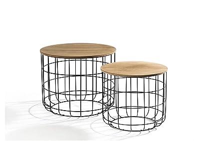 Tavolini Bassi Soggiorno.Lifa Living Tavolino Da Salotto Moderno In Set Da 2 Tavolini Da Caffe Tavolini Bassi Rotondi Per Soggiorno Cucina Piani Rimovibili Funzione