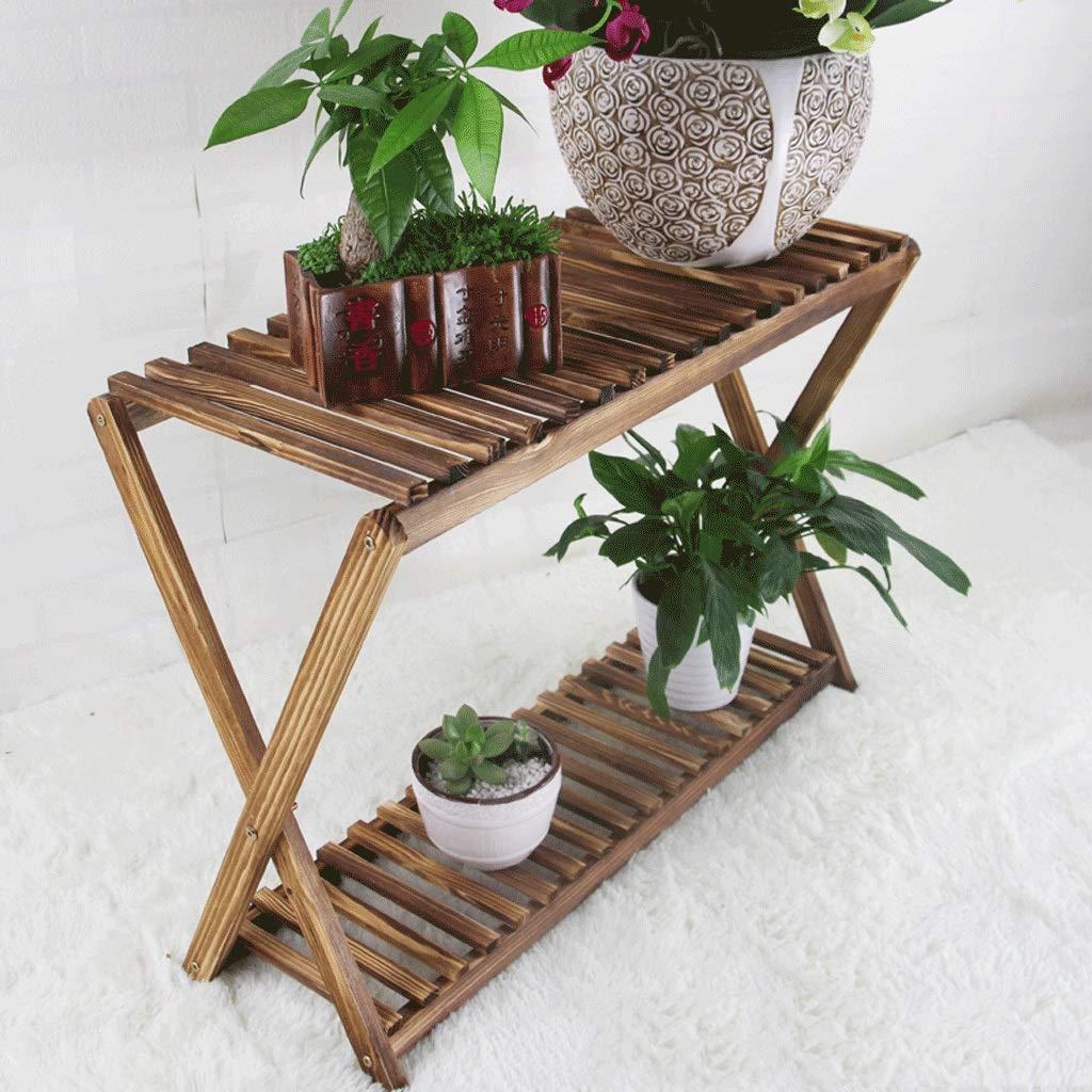 WYY Wood Balcony Shelf Flower Stand Floor Shelf Indoor Multi-Layer Bonsai Plant Flower Pot Shelf (Size : S) by WYY