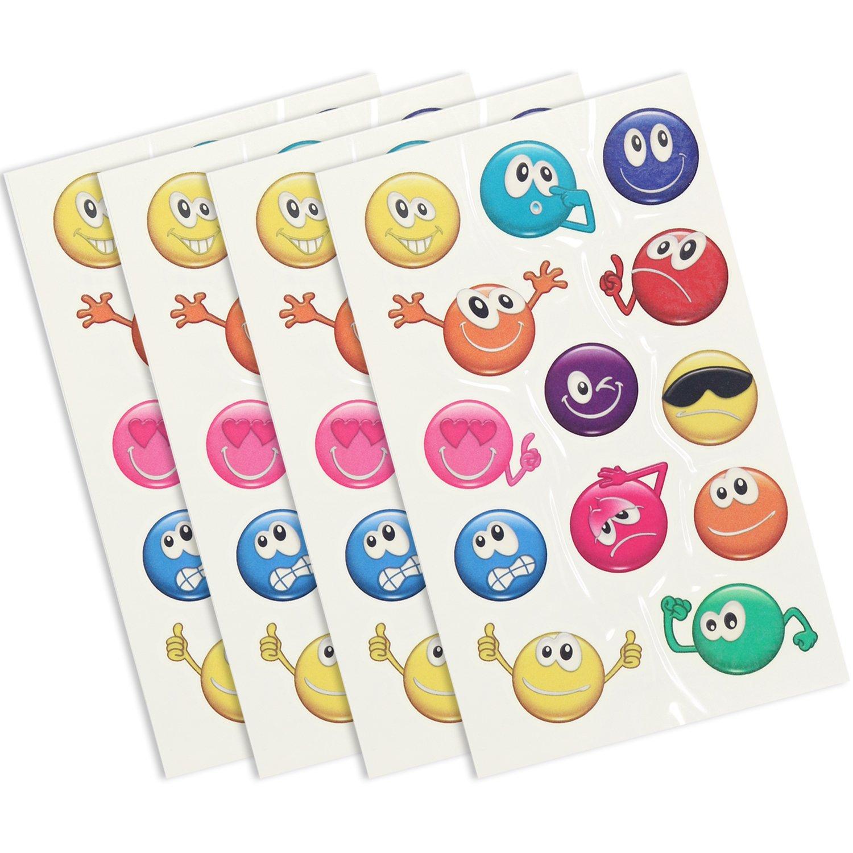 COM-FOUR 4x Tattoo-Bögen mit Abziehtattoos für Kinder und Jugendliche mit lustigen Smileys (04 Stück - Smiley)