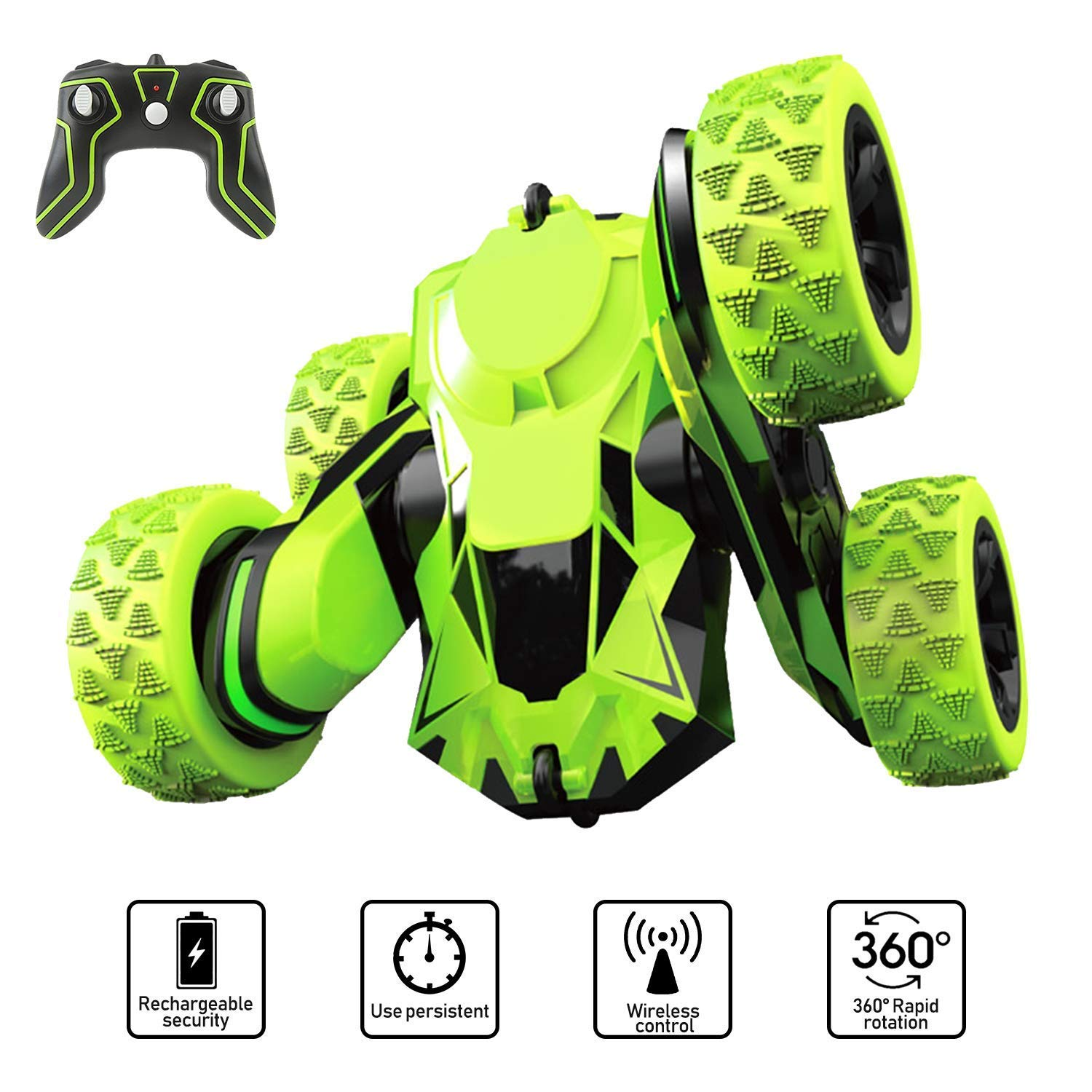 Joyjam Toys for 6-12 Year Old Boys RC Stunt Car for Kids and Adults 4WD Off Road Truck 2.4Ghz Remote Control Vehicle Double Sided 360 Degree Rotating Christmas Birthday Gifts NBC Green