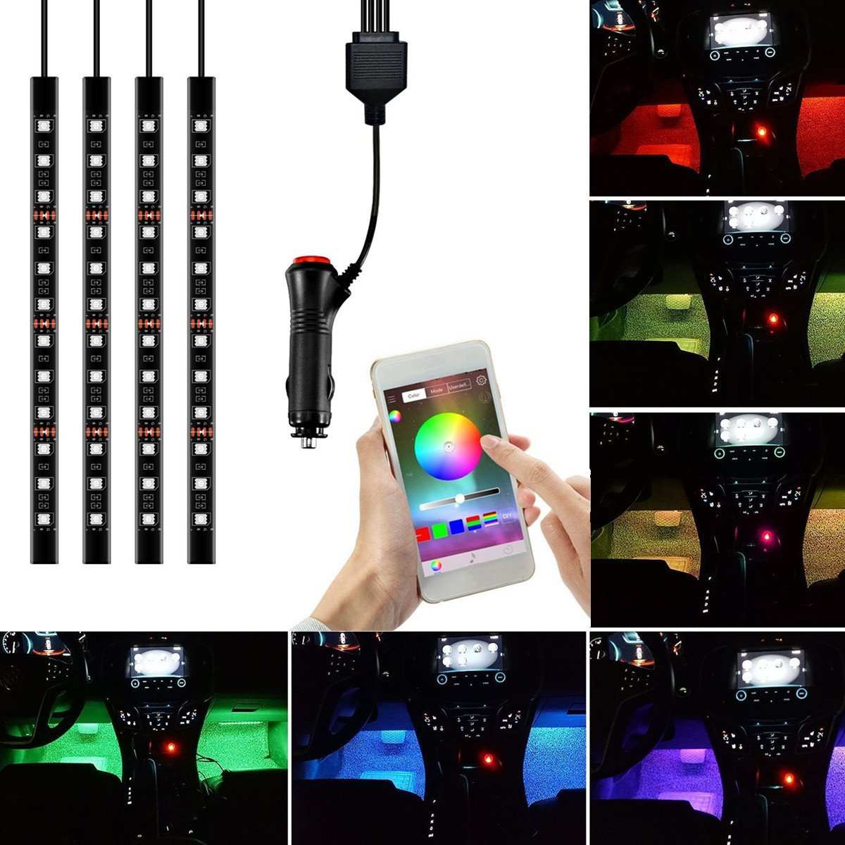 Car LED Strip Light, YANF 4pcs 48 LED Bluetooth App Controller Multi Color Music Car Interior Lights Under Dash Lighting Kit with Sound Active Function for iPhone Android Smart Phones