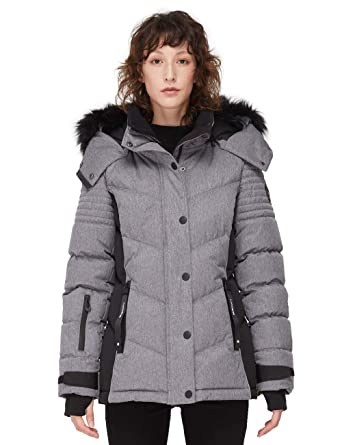 detailed look on feet shots of good looking Noize Sandra Women's Winter Coat, Mid Length Jacket with Faux Fur Trim