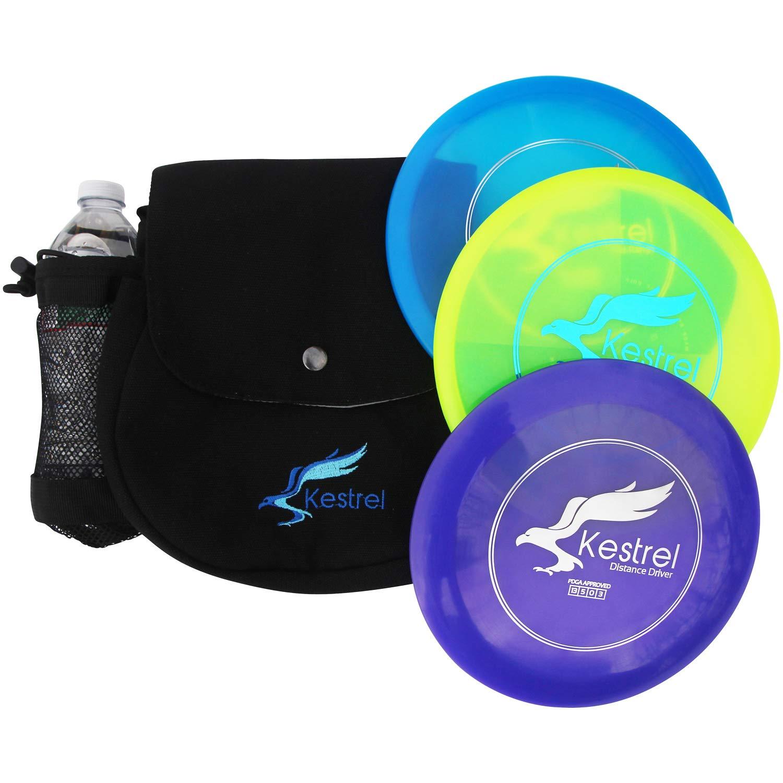 Kestrel Discs Golf Pro Set | 3 Disc Pro Pack Bundle + Green Camo Bag | Disc Golf Set | Includes Distance Driver, Mid-Range and Putter | Small Disc Golf Bag (Black)