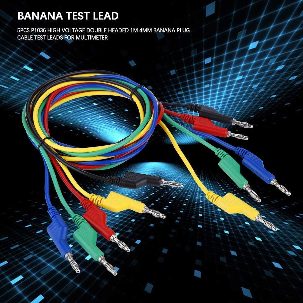Cable de Conector Tipo Banana BiuZi 5pcs P1036 Kits de Cables de Prueba de Cable de Banana de Alto Voltaje de 1M 4 mm de Alto Voltaje para Mult/ímetro