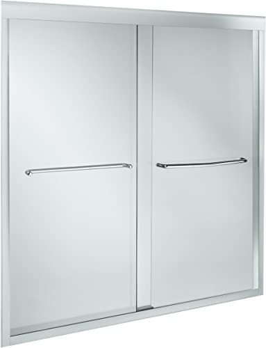 KOHLER K-702205-L-SHP Fluence 3 8-Inch Thick Glass Bypass Bath Door, Bright Polished Silver