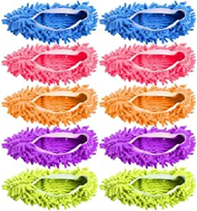 BACKK 5 Pairs (10 Pieces) Multi-Function Dust Duster Mop Slippers Shoes Cover, Soft Washable Reusable Microfiber Foot Socks Floor Cleaning Tools Shoe Cover