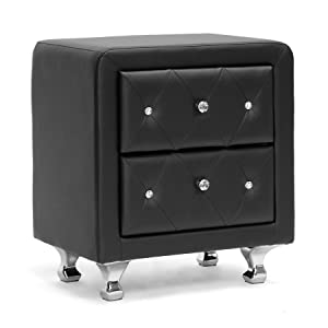 Baxton Studio Stella Crystal Tufted Upholstered Modern Nightstand, Black