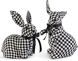 K&K Interiors 20381C Assorted White Gingham Bunnies W/Black Bows (Pack of 2 Bunnies)