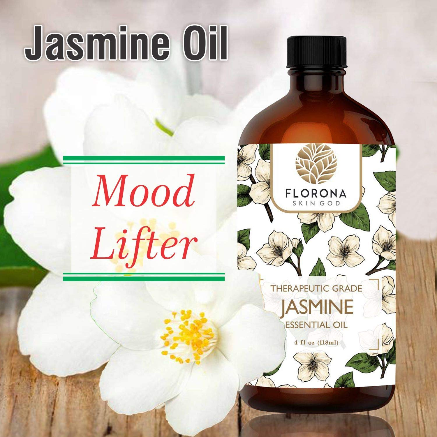 Jasmine Essential Oil 4 Oz - 100% Pure and Natural for Hair Skin Diffuser Therapy Home Fragrance Acetite Large Bottle with Gift Box